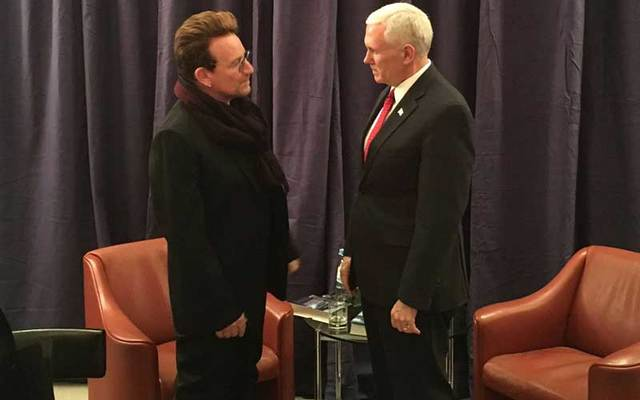 U2 frontman Bono met with U.S. Vice-President Mike Pence in Germany.