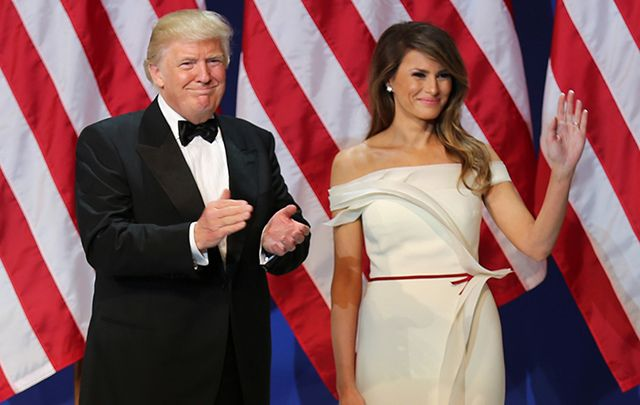 President Donald J. Trump and First Lady Melania greet service members at the Salute to Our Armed Services Ball at the National Building Museum, Washington, D.C., Jan. 20, 2017.