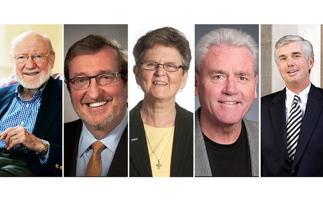 The distinguished 2017 Hall of Fame inductees are Nobel laureate Dr. William C. Campbell; CEO of Northwell Health Michael Dowling; women's rights leader Sister Teresa Fitzgerald; labor leader Terry O'Sullivan, general president of the Laborers' International Union of North America; and Kevin White, athletic director at Duke University.