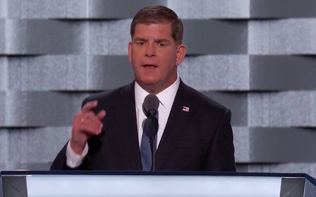 Boston Mayor Martin Walsh speaking at the Democrats National Convention in 2016.