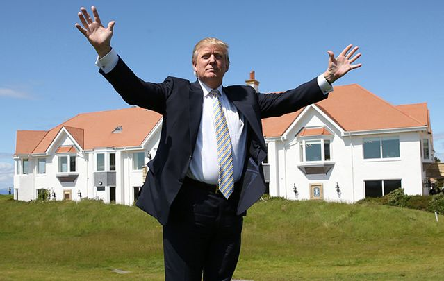 Trump at another one of his golf course properties in Scotland.