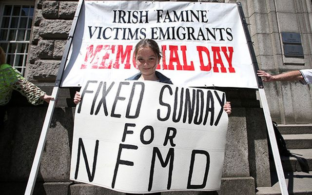 Ciara Blanch (7) from Tallaght Dublin joined people demonstrating outside the Department of Jobs, Enterprise, and Skills. They are campaigning for a specific day for the Irish Famine Victims Emigrants.