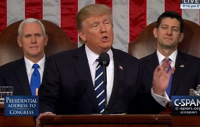 VP Mike Pence, President Donald Trump and House Speaker Paul Ryan.