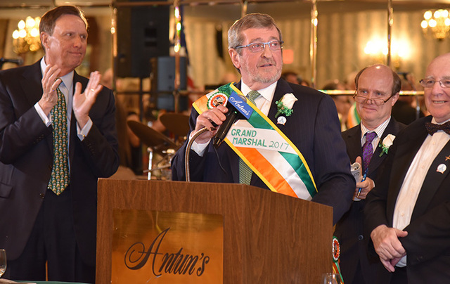 Grand marshal Michael Dowling addresses the audience.