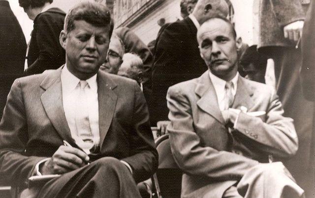 "John F Kennedy and his hero William ""Bud"" Liebenow."