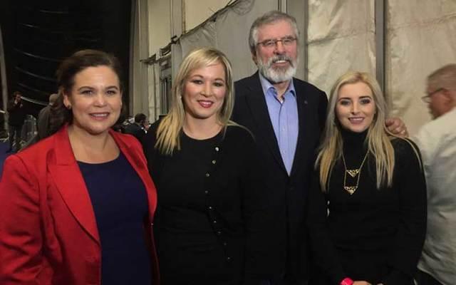Sinn Féin President Gerry Adams with Mary Lou McDonald, Michelle O\'Neill and Órlaithí Flynn.