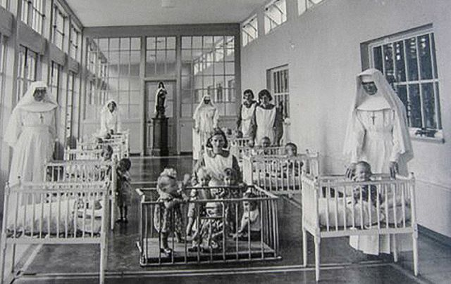 Nuns, mothers and babies at the Bon Secour Home in Tuam.