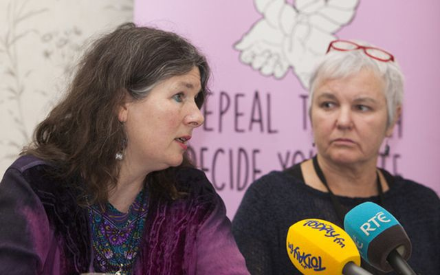 Cllr Deirdre Wadding and Brid Smith TD  at a press conference in Buswell's Hotel in Dublin on the Tuam Mother and Baby home scandal.