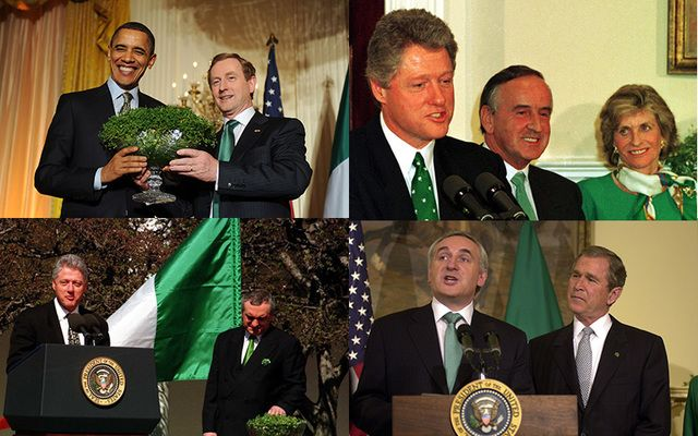 A collection of St. Patrick's Day past: (clockwise from top left) President Barack Obama with Taoiseach Enda Kenny in 2011, President Bill Clinton with Taoiseach Albert Reynolds in 1993, President George W. Bush with Taoiseach Bertie Ahern in 2001, and President Bill Clinton with Taoiseach Bertie Ahern. in 1994