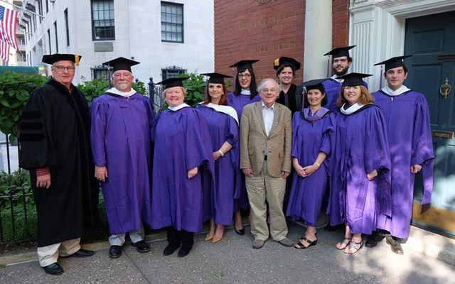 Graduates of the Glucksman Ireland House NYU class of 2016 with Professor Joe Lee.