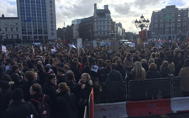 """Thousands of Repeal the 8th protests are saying """"No More Business as Usual"""" as the send the message to Ireland's government """"No Debate, We Won't Wait."""""""