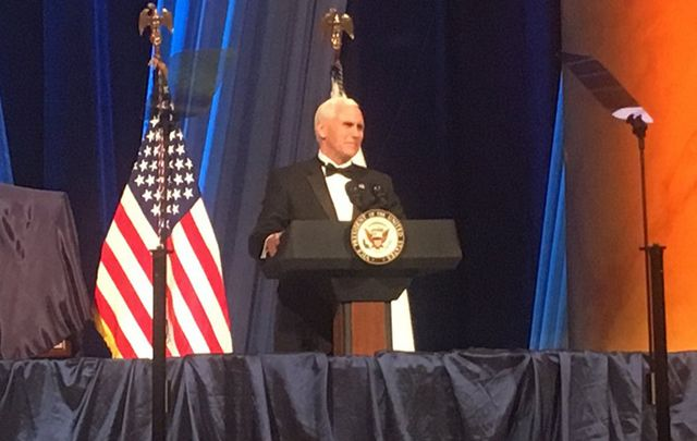 Vice President Mike Pence speaks at the Irish American Fund gala St. Patrick\'s Day dinner.