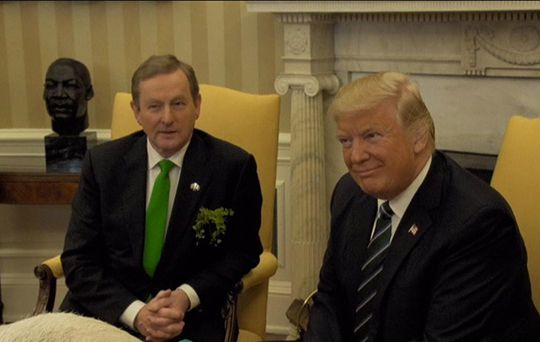 As Enda Kenny and Donald Trump met and shook hands at the White House, Trump said he plans to visit Ireland while in office.