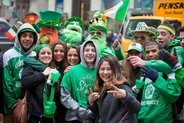 Spectators enjoying St. Patrick's Day celebrations