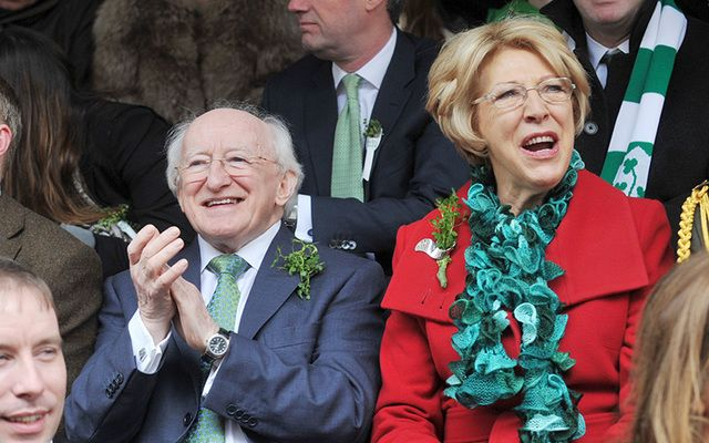 The Irish President Michael D. Higgins and his wife Sabina enjoying the St. Patrick\'s Day celebrations in Dublin in 2012.