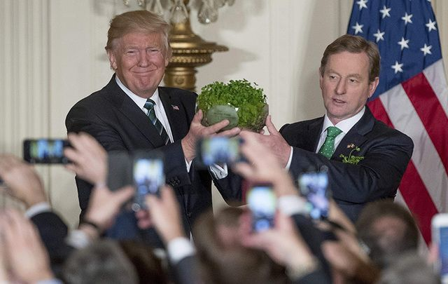 Taoiseach (Prime Minister) Enda Kenny presents that traditional bowl of shamrock to US President Donald Trump on St. Patrick's Day.
