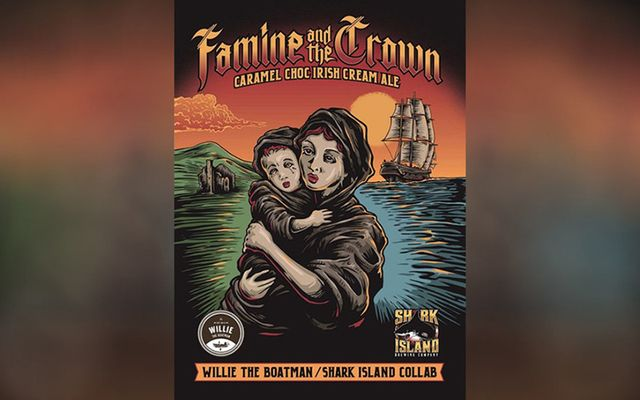 """Famine and the Crown"" beer featuring an image of a malnourished mother and child withdrawn."