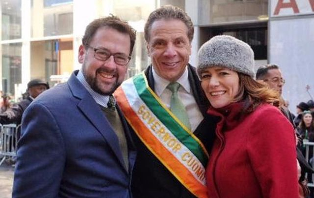 Governor Cuoma, with Aidan Connolly and Pauline Turley of the Irish Arts Center.