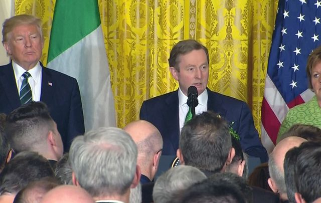Irish leader Enda Kenny gives his St. Patrick\'s Day speech at the White House alongside President Trump and his wife Fionulla.