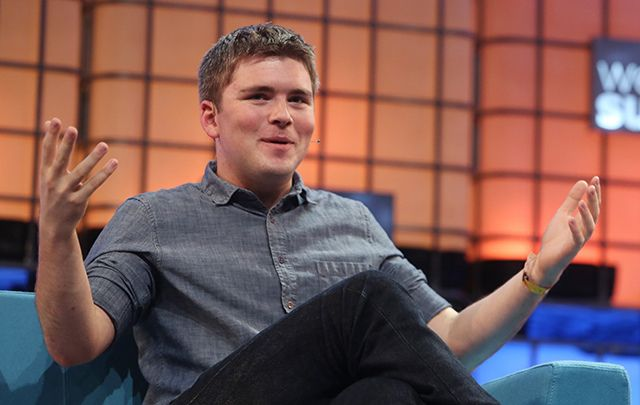 Pictured is the co-founder of Stripe, John Collison, speaking at the Web Summit in the RDS in Dublin in 2015.