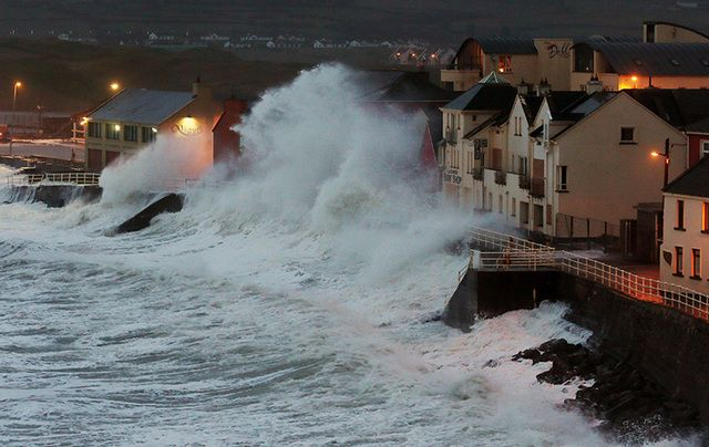 Lahinch, County Clare, during a 2014 storm. What will become of the west of Ireland if sea levels continue to rise?