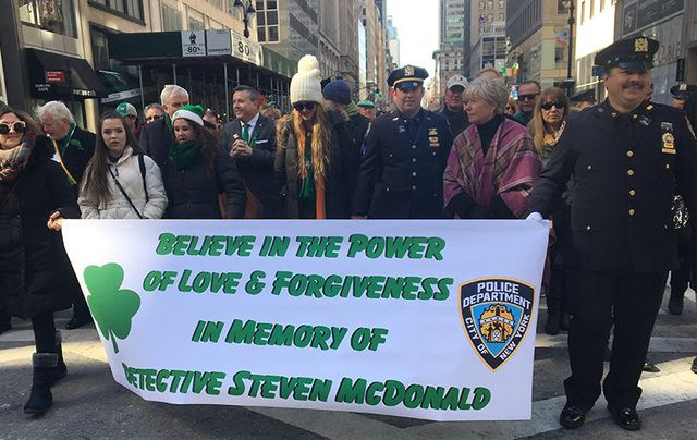 The banner in honor of the late NYPD Detective Steven McDonald.