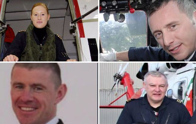The crew of rescue chopper 116: Capt Dara Fitzpatrick (RIP), Capt Mark Duffy, Paul Ormsby and winchman Ciaran Smith. The three men are still missing.