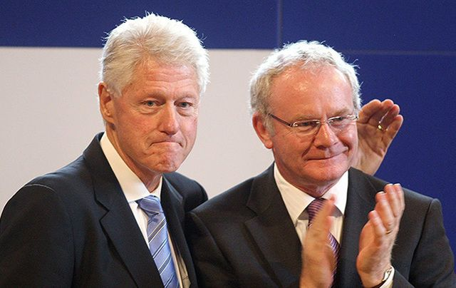 Former president Bill Clinton and Martin McGuinness.