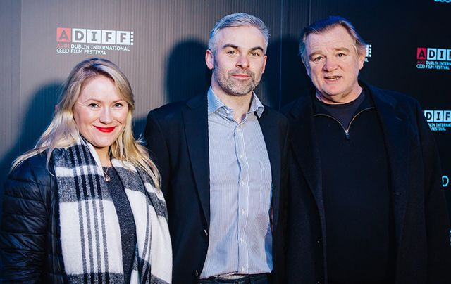 Film producer Marie-Therese Garvey, director Risteard Ó Domhnaill and narrator Brendan Gleeson.