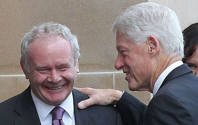 Sinn Fein leader Martin McGuinness and former president Bill Clinton.