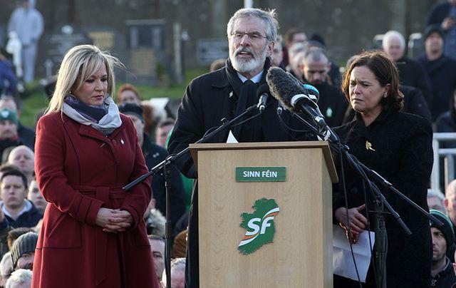 Sinn Fein President Gerry Adams speaks at the graveside of Martin McGuinness.