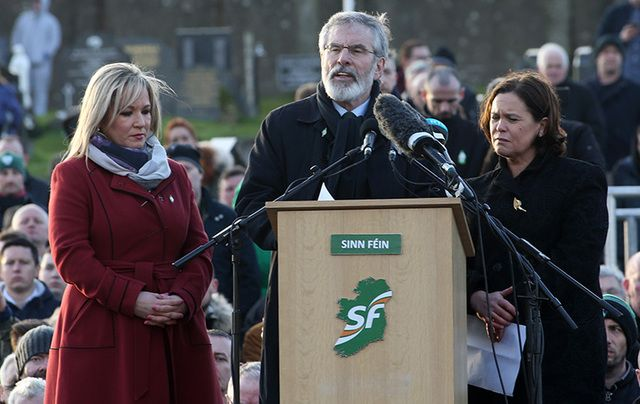 Sinn Fein President Gerry Adams speaks at the graveside of Martin McGuinness.