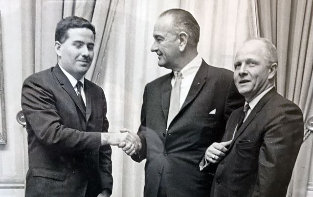 John Feerick with President Lyndon Johnson and Congressman Richard Paff at the passage of the 25th amendment ceremony.