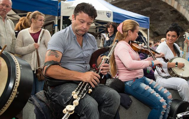 Musicians playing on the street at the Fleadh Cheoil na hEireann.