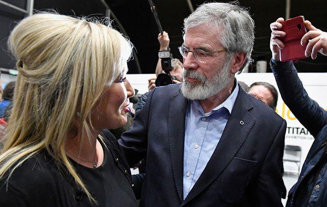 Sinn Fein\'s Michelle O\'Neill and Gerry Adams.