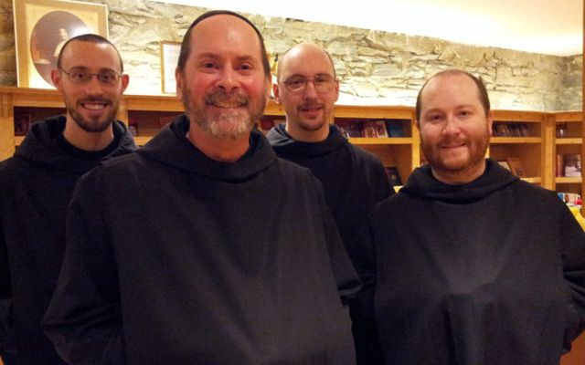 Four monks of Silverstream priory (l to r) Dom Elijah, Dom Mark Daniel Kirby, Dom Finian and Dom Benedict Andersen.