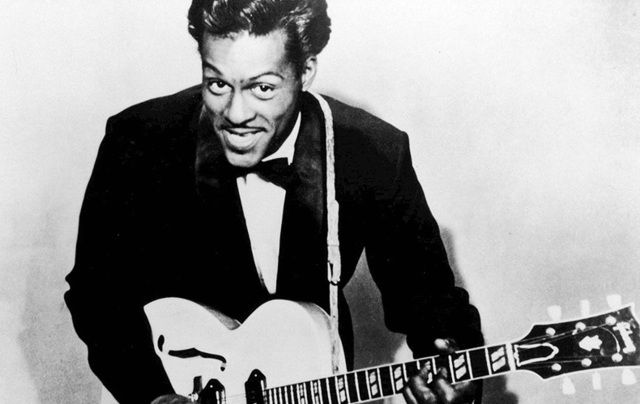 Rock n\' roll legend Chuck Berry photographed in 1957.
