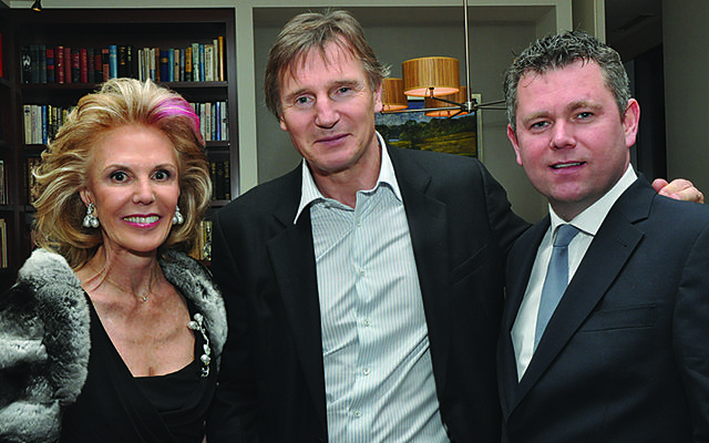 Origin Theatre Company board member Tina Santi Flaherty, Liam Neeson and Origin artistic director George Heslin.