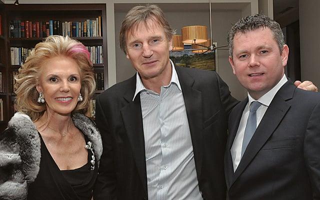 Origin Theatre Company board member Tina Santi Flaherty, Liam Neeson and Origin artistic director George Heslin.