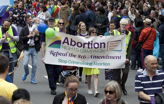 Abortion Rights Campaign march in Dublin city center.