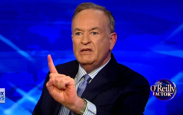"Still of Bill O\'Reilly on his Fox News show, ""The O\'Reilly Factor\""."