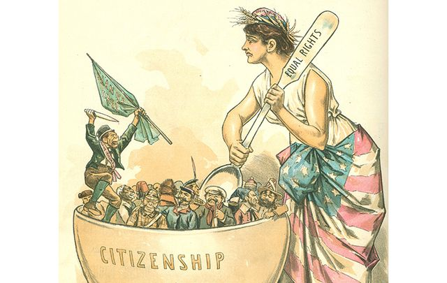 A 1889 Puck magazine cartoon illustrating anti-Irish sentiments.