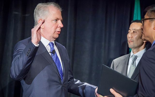 Seattle Mayor Ed Murray takes the oath of office in 2014.