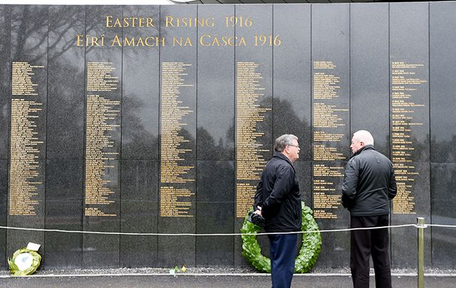 """Necrology Wall, unveiled as part of the 1916 centenary commemoration and listing the names of all who lost their lives in the Rising, was vandalized at Glasnevin Cemetery.\"""