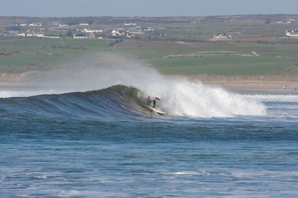 Surfing the waves at Lahinch in County Clare