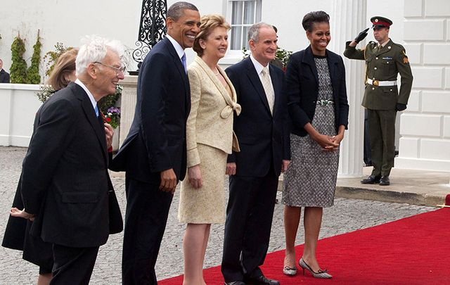 Dan Rooney, the Obamas, the former President of Ireland Mary McAleese and her husband Martin at the Áras an Uachtaráin.