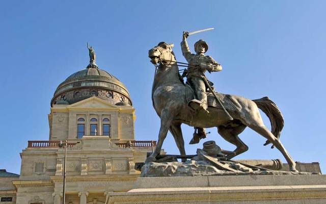 Statue of Thomas Francis Meagher outside Montana Statehouse.