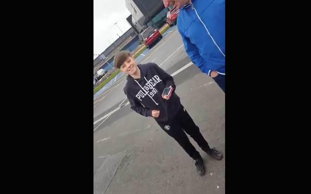 Video screenshot of a surprised 12-year-old Sean McGrath.