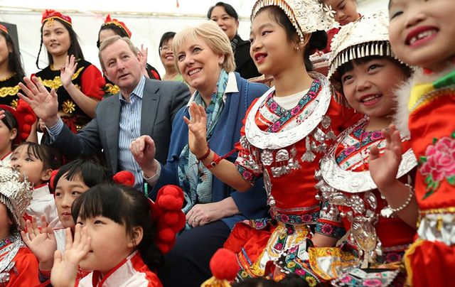Irish leader Enda Kenny and Minister Heather Humphrey\'s enjoying the cultural celebrations at Cruinniu na Casca.