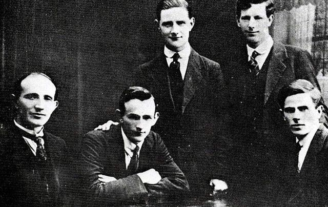 The Twelve Apostles - Mick McDonnell, Liam Tobin, Vinny Byrne, Paddy O Daly, and Jim Slattery.